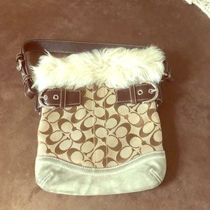 Tan with white fur coach bag